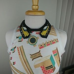 Crazy Taxi blouse sheer campy retro comic style